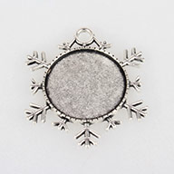 Christmas Ornaments Alloy Double Sided Snowflake Pendant Cabochon Settings, Antique Silver, Flat Round Tray: 25mm; 43x38x2mm, Hole: 4mm; about 155pcs/kg