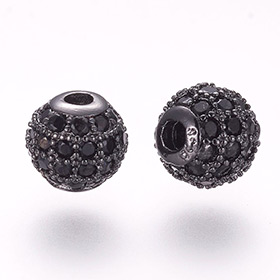Black Cubic Zirconia Beads