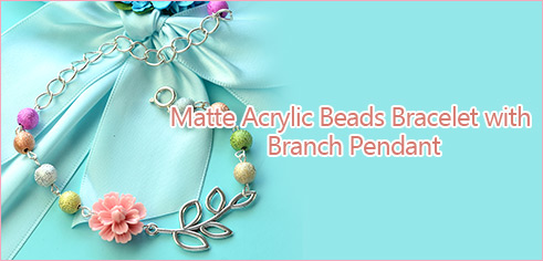 Matte Acrylic Beads Bracelet with Branch Pendant