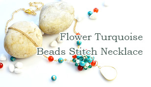 Flower Turquoise Beads Stitch Necklace