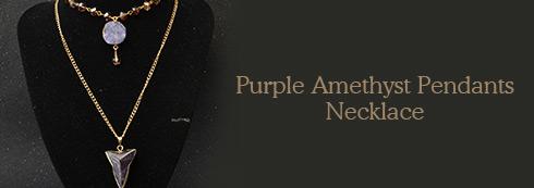Purple Amethyst Pendants Necklace