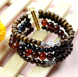Wide Beaded Bracelet for Men