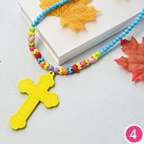Colorful Acrylic Beads Necklace with Cross Pendants