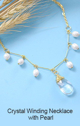 Crystal Winding Necklace with Pearl