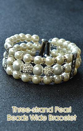 Three-strand Pearl Beads Wide Bracelet