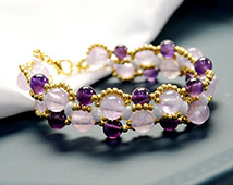 1749 Purple Gemstone Beaded Bracelet