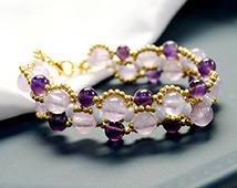 1749 Purple Gemstone Beaded Bracelet