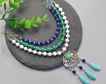 1808 Multi Strand Bead Necklace